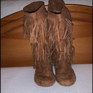 Women Wide Calf Fringe Boots on Poshmark
